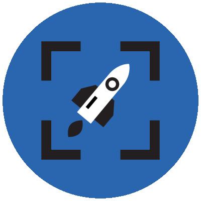 icon rocket ship inside frame brackets