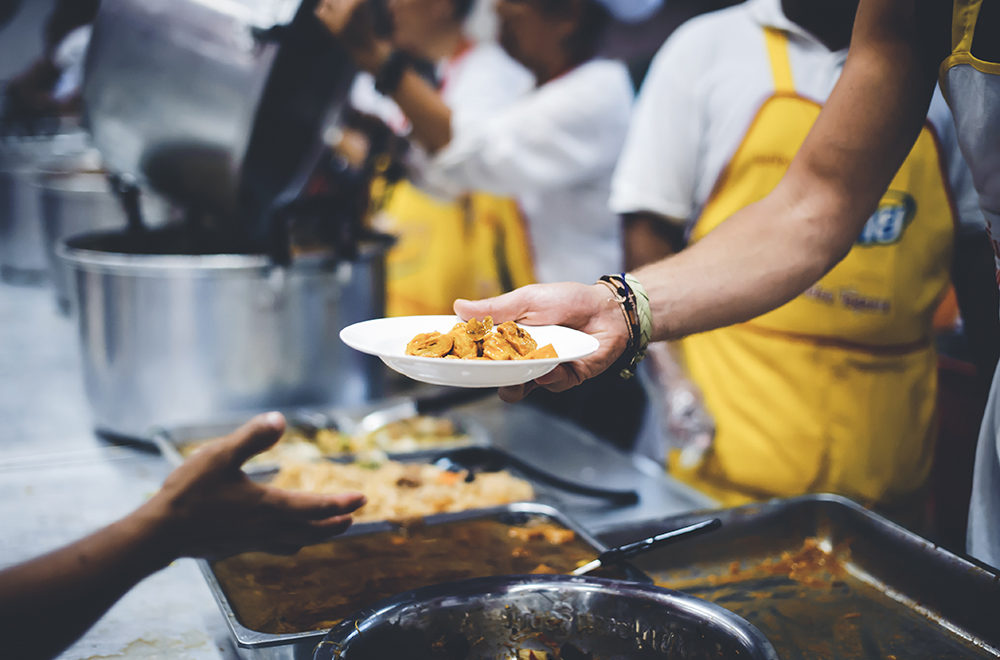 food-line for the homeless and the hungry